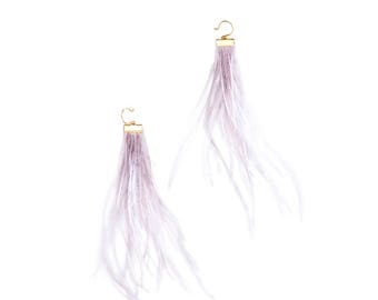 NEW Mauve Grey Feather Earrings - Holiday Fashion - Gold Earrings - Long Fringe Statement Earrings
