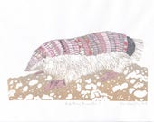 Pink Fairy Armadillo Linocut on Beautiful Japanese Papers, World's Smallest Armadillo, Pichiciego