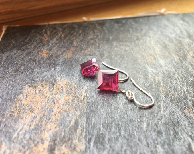 Hot Pink Quartz Littles Earrings in Sterling Silver Bridesmaid Gift