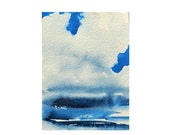 ACEO Waterspout, Weather Art, Watercolor Original Painting, Indigo, Meteorology Phenomenon, Artist Card, Trading Card, weather gift,