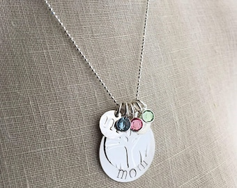 Pressed Initial Necklace |Mom|Gift|Diamond Beaded|Custom Name stamped|Monogram|Initial|Birthstone|Necklace|in|Sterling|Silver|Jewelry|