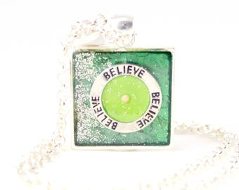 Green Believe Necklace, Catholic Jewelry, Mustard Seed Pendant, Campus Ministry, Deacon Gift, Mission Trip Gift, Pastor's Wife, Jehovah