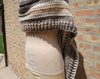 Brown and Cream  Blend Poncho - Shawl - Coverup - Sweater- Hand Crochet - Assemytrical Custom Colors