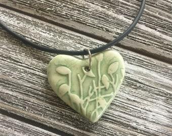 Pale Green Leaves Porcelain Heart Pendant