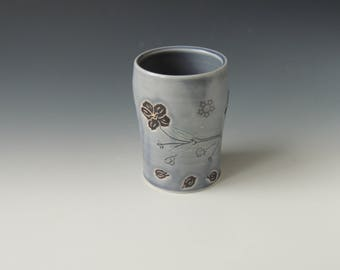 Ceramic Cherry Blossom Tumbler - purple porcelain clay cup with flowers and wifi decals - handmade wheel thrown pottery