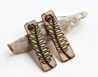 Long Wood Rectangle Leaf Dangle Earrings, Plants & Trees, Lightweight Hypo Allergenic Earrings, Big Bold Earrings, Handmade in Canada