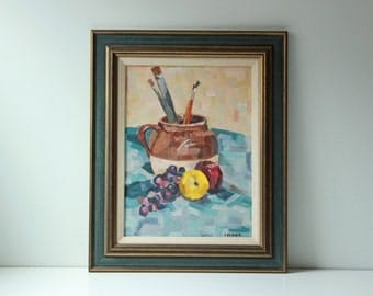 Vintage still life oil painting Pottery and Brushes