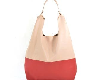 Bonnie - Handmade Colour Block Pink & Red  Leather Shopper Carrier Bag SS18