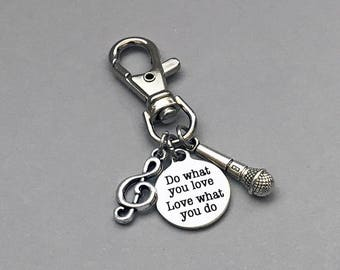 Music Key Chain, Music Purse Charm, Keychain Charm, Key Ring Charm, Do What You Love, Music Note Charm, Microphone Charm, Music Lover Gift