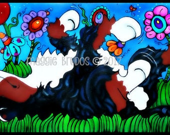 bernese mountain dog whimsical ladybug butterfly  polka dot garden art pet love 10x20 maggie brudos painting Original whimsical CAT art