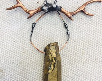 Antler and bronze quartz One of a kind pendant