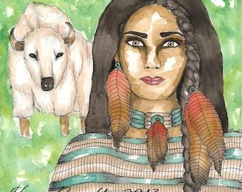 Native American Art White Buffalo Calf Woman Original Watercolor Painting Paganism Mythology Shamanism Divine Feminine Sacred Spiritual Art