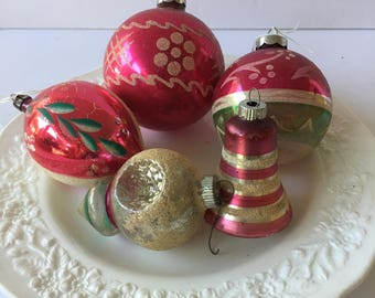 Vintage Glass Ornament Lot Minty Pink Glitter Mid Century and Antique USA Vintage Christmas Decor Wreath Crafting Shiny Brite