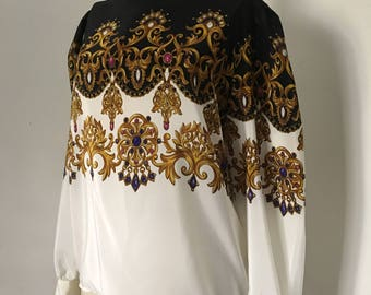Tromp L'oeil Blouse Retro New Wave Bejeweled Shirt Secretary Blouse