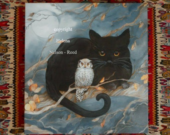 Black Cat and White Owl Helena Nelson - Reed signed art canvas no frame required