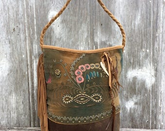 Rustic Victorian Velvet and Leather Hobo Bucket Bag by Stacy Leigh
