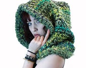 Comet Pull over huge hair Adult dread Hood Scarf Big Hair chunky vegan forest green lime