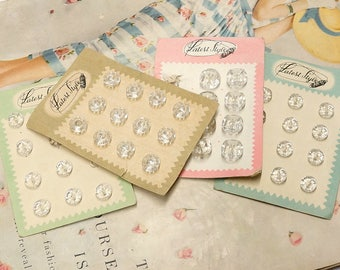 Small Vintage Glass Buttons on Card - Clear Glass Buttons - Jewelry Buttons - Craft Buttons - Sewing Buttons