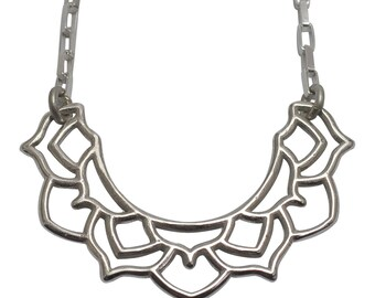 Sterling silver half crescent moon medium mandala bib necklace