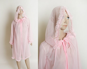 Vintage Candy Cane Striped Lingerie Robe - Hooded 1960s Cover-Up Nylon Slip Nightie Robe - Holiday Fashion - Pink White - Ruffles