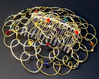 Womens Kippah Kippot Hanukkah Headcovering - Multicolor Crystals - 4 in