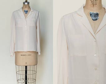 1970s Secretary Blouse --- Vintage Semi Sheer Top