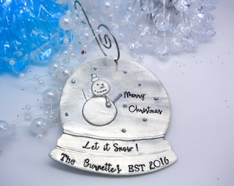 Personalized Snow Globe Ornament, Custom Snow Globe personalized Ornament, Holiday Snow Globe Christmas ornament Personalize family ornament