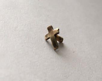 teeny screw-back brass cross pin