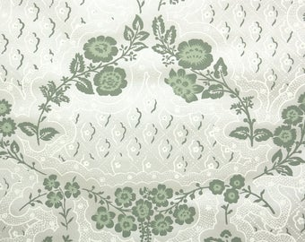 1950s Vintage Wallpaper by the Yard - Floral Wallpaper with Green Flowers Floral Wallpaper