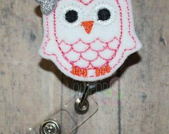 White Owl Badge Reel, Owl Badge Reel, Felt Badge Reel, Retractable badge reel, badge reel, work id holder, work id badge, id badge holder