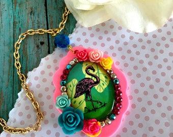 GLAMOROUS FLAMINGO- 30 X 40 Glass Cameo Floral Decoden Pendant Necklace