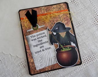 Handmade Halloween Card:  witch, greeting card, multi color,spider, approval, wicked, complete card, handmade, balsampondsdesign