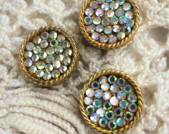 Authentic Vintage Buttons gold tone fancy classic Aurora Borealis Rhinestone Button set of 3
