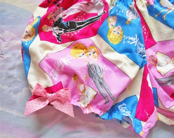 Lolita bloomers, Barbie and Ken retro fabric 60s mod gothic lolita fairy kei fashion drag queen clothing size medium m