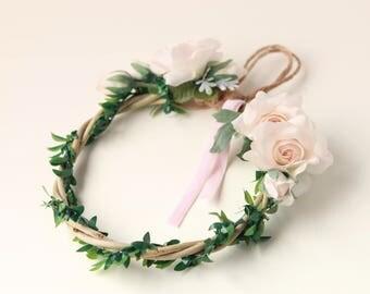 Pink flower wreath, Unique home decor, Door or wall wreath, Small woodland vine, Pink rose woodland wreath, Baby girl nursery decor