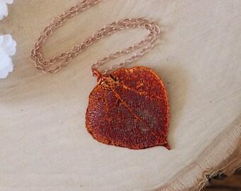 Copper Aspen Leaf Necklace, Real Leaf Necklace, Aspen Leaf, Rose Gold, Leaf Pendant LC55