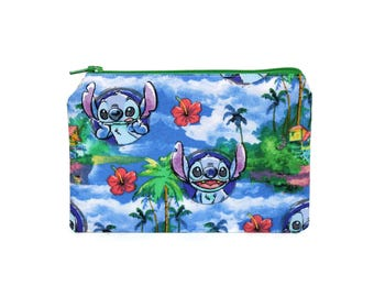 CHOOSE SIZE Lilo and Stitch Zipper Pouch / Lilo Stitch Ohana Camera Bag on Blue Island / Make Up or Coin Pouch