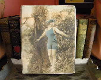Large Antique Candy Box with 1920's Era Flapper Bathing Beauty in Swim Suit Risque Chocolate Box