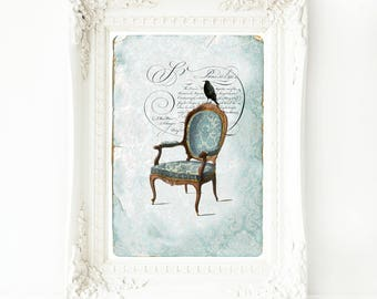 A crow on a Regency chair, French Art Print, French vintage decor, Halloween, Gothic, wall art, A4 Giclee