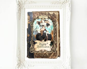 Halloween print, spell book, Halloween witch, vintage Gothic style, A4 giclee