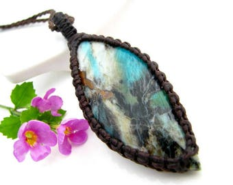 Incredible,  RARE Collawood necklace, Collawood,  natural celestial rock jewelry,  Macrame necklace, Wrapped stone pendant, special gift