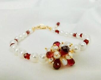 Pearl and Garnet Bracelet - Pearl Bracelet - Garnet Bracelet - Gold Bracelet