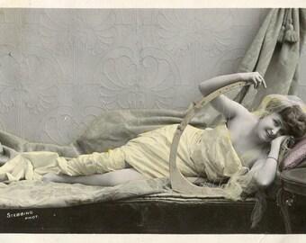 Vintage French Lady RPPC postcard -  VC025