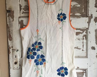 Vintage Full Apron -  Embroidery 1930s Orange and Blue
