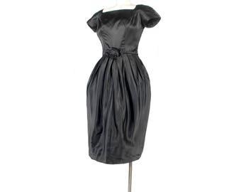 Vintage 50s Dress - 50s Party Dress -  - 50s Silk Dress - 50s Satin Dress - 50s Bubble Skirt - 50s Hourglass Dress - Black Party Dress - XS