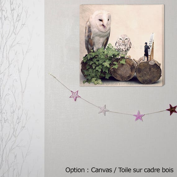 canvas art, optician,  photography canvas, canvas print, Steampunk home decor, Art, owl, gift optician