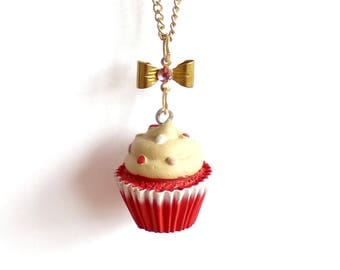 Red Velvet Cupcake Necklace, Bakeshop Collection, Kitschy Birthday Cake Necklace Kawaii Jewelry Pinup Necklace, Rockabilly Necklace