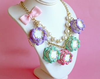 Pastel Cakes Necklace, Pink Birthday Cake Statement Necklace, Candy Jewelry, Pastel Goth, Kawaii Food Jewelry, Pinup Jewelry, Kitsch