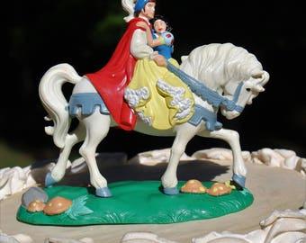 Snow White Prince Charming on Horseback Fairytale  wedding Cake Topper