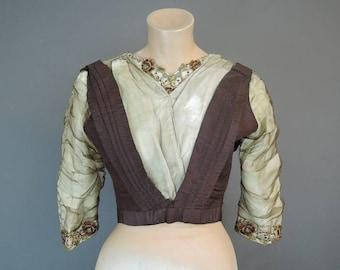 Embroidered Silk Antique Bodice, AS IS 1910s Edwardian Taffeta & Chiffon Blouse